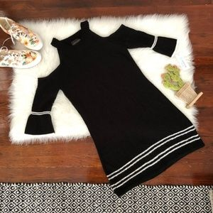 Stitch Fix Black Cold Shoulder Sweater Dress NWT